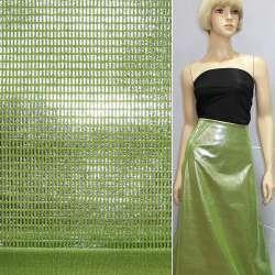 Замша штучна зелена з сріблястими паличками