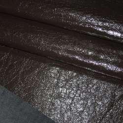 Шкіра лаке штучна темно-коричнева жата на х/б основі ш.150
