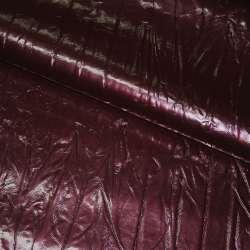 Кожа искусственная жатая лаке бордовая с перламутром, ш.150