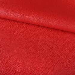 Кожа искусственная на флисе блестящая красная ш.145