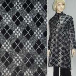 мех иск. серый в черно-мол. квадраты, ш.150