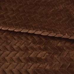 Хутро штучне косичка з прорізами коричневе ш.165