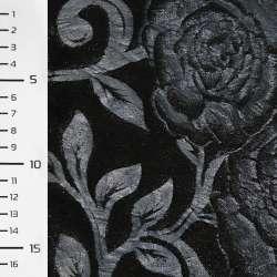Хутро штучне чорне зі штампованими синіми трояндами ш.150