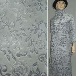 Хутро штучне сіро-блакитне з штампованими трояндами ш.150