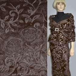 Хутро штучне коричневе зі штампованими трояндами ш.150