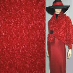 Хутро штучне червоне з трояндочками ш.150