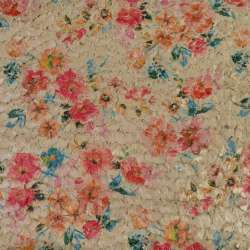 Хутро штучне стрижене бежеве в квіти, ш.145