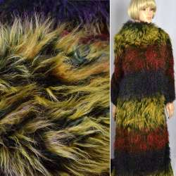 "Мех иск.""Fellimitat""лама желто зелено бордовая,ворс-40мм,ш.145"