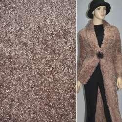 """Хутро штучне коричневе з рожевим відтінком під """"баранчика"""" ш.160"""