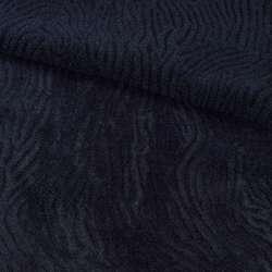 Мех искусственный мутон с тиснением синий темный, ш.150
