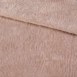 Мех искусственный мутон с тиснением розово-бежевый, ш.160