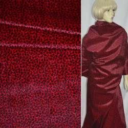 Мех искусственный коротковорсовый красный с черным леопардом ш.150