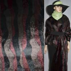 Мех искусственный в черно-коричнево-бордовые полосы под норку ш.150