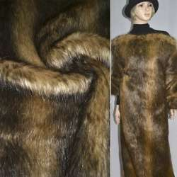 Мех искусственный длинноворсовый бежево-коричневый в полосы, ш.150