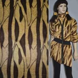 Мех искусственный коротковорсовый желтый с коричневым абстрактным рисунком ш.150
