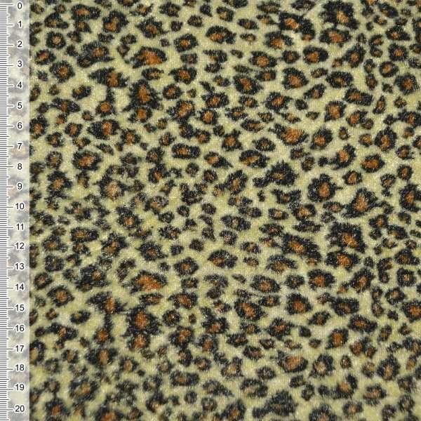 Велюр світло-жовтий принт леопард ш.150