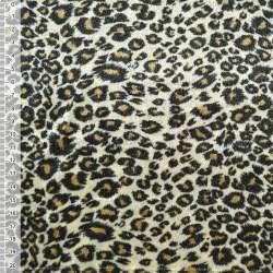 Велюр молочно-оливковый принт леопард ш.150