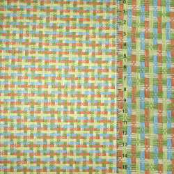 Рогожка из целлюлозы на флизелине с цветным переплетением: зелено- оранжево-голубая, ш.150