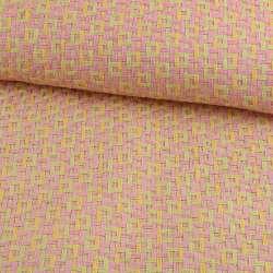 Рогожка з целюлози на флізеліні з кольоровим переплетенням: рожево-салатова, ш.150