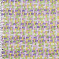 Рогожка из целлюлозы на флизелине с цветным переплетением: розово- фиолетово-салатовая, ш.150
