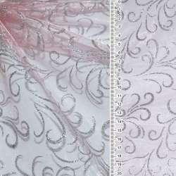 """органза бледно-розовая с блестящ. сереб.""""завитками"""" ш.160"""