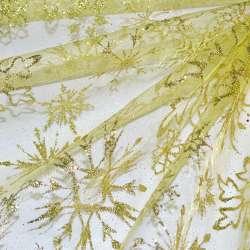 """органза золотисто-желтая с блестками """"снежинка"""" ш.160"""