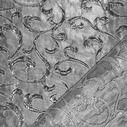 Парча жаккардовая, срібляста ш.150