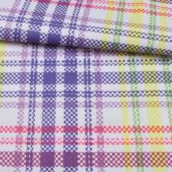 ПВХ тканина Оксфорд 600D біла в фіолетову + жовту, рожеву клітку, ш.150