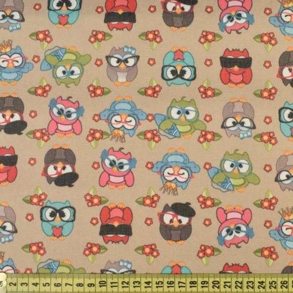 ПВХ тканина Оксфорд 600 D бежева в різнокольорові сови, ш.150