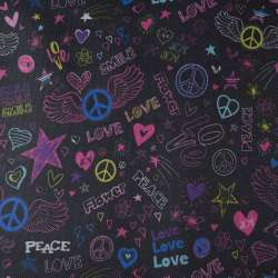 ПВХ тканина Оксфорд 600 D чорний в різнокольорові peace, love ш.150
