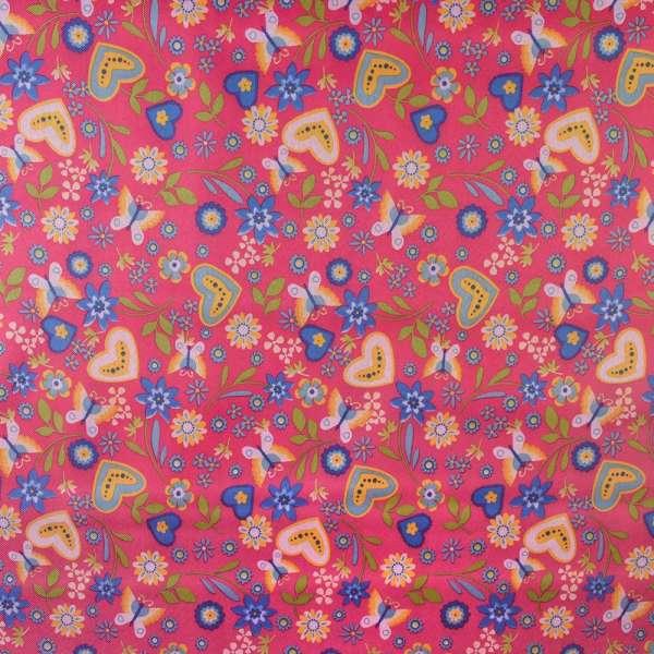 ПВХ ткань оксфорд 600 D розовый в разноцветные бабочки,цветы,сердца ш.150