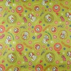 ПВХ тканина Оксфорд 600 D зелений в різнокольорові кішечки, зірки ш.152