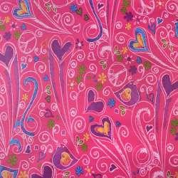 ПВХ ткань оксфорд 600 D малиновый в разноцветные сердца,птички, ш.150