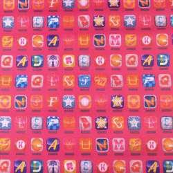 ПВХ ткань оксфорд 600 D розовый в разноцветные квадраты с буквами ш.153