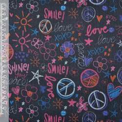 "ПВХ ткань оксфорд 600 D черная ""Love Smile"" ш.150"
