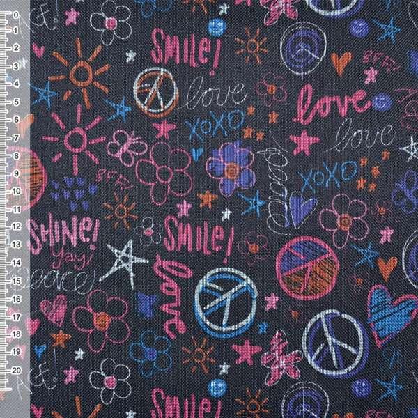 """ПВХ тканина Оксфорд 600 D чорна """"Love Smile"""" ш.150"""