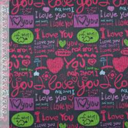 """ПВХ ткань оксфорд 600 D черная """"I Love you"""" ш.150"""
