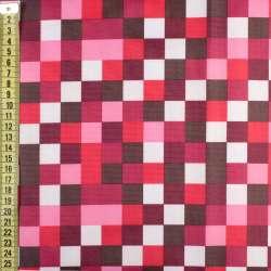ПВХ тканина Оксфорд рип-стоп червоні, рожеві, білі квадрати, ш.150
