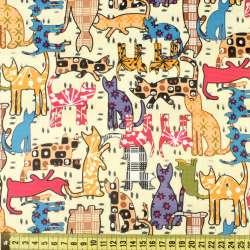 ПВХ ткань оксфорд рип-стоп кремовая в разноцветные кошки, ш.150