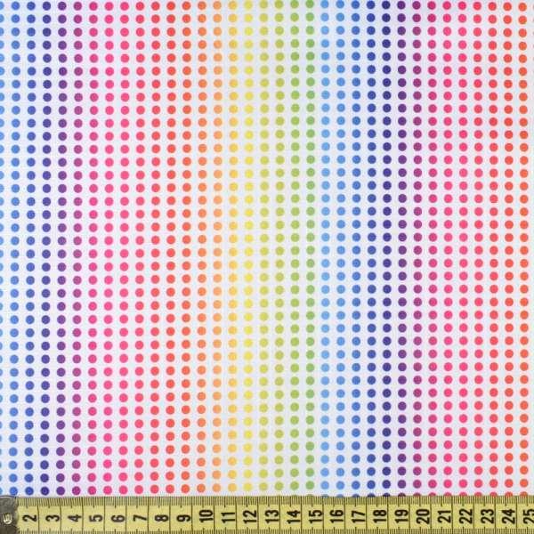 ПВХ ткань оксфорд рип-стоп белая в радужные точки, ш.150