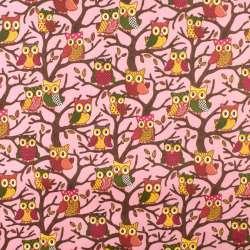 ПВХ тканина ріп-стоп 210T рожева в сови на деревах ш.150
