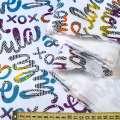 ПВХ ткань рип-стоп 210T белая в разноцветные надписи ш.155