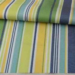 ПВХ тканина оксфорд 600D біла, зелена, жовта, синя смужка, ш.150