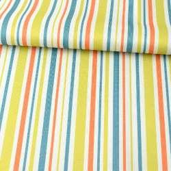 ПВХ тканина оксфорд 600D біла, салатова, помаранчева, синя смужка, ш.150