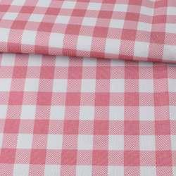 ПВХ тканина оксфорд 600D біло-рожева клітка, ш.150