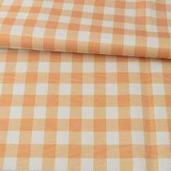 ПВХ тканина оксфорд 600D біло-помаранчева клітка, ш.150