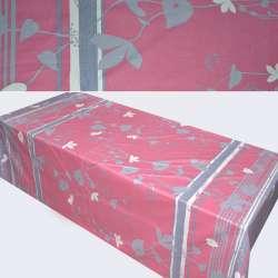 Сатин рожево-сірий з листям (купон) ш.230