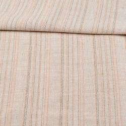 Ткань суровая (парусина) бежевая в оранжевую и серую полоску ш.150
