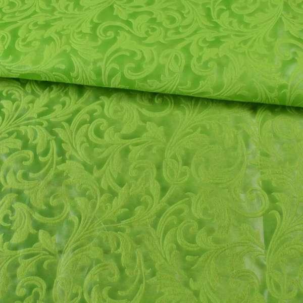 Флизелин неклеевой (спанбонд) салатовый с тиснением завитки, плотность 80, ш.162
