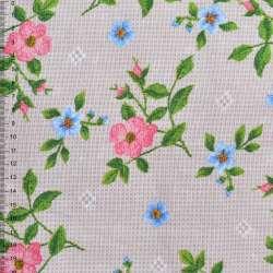 Рогожка набивная бежево-сіра з квітучими гілочками шипшини ш.150
